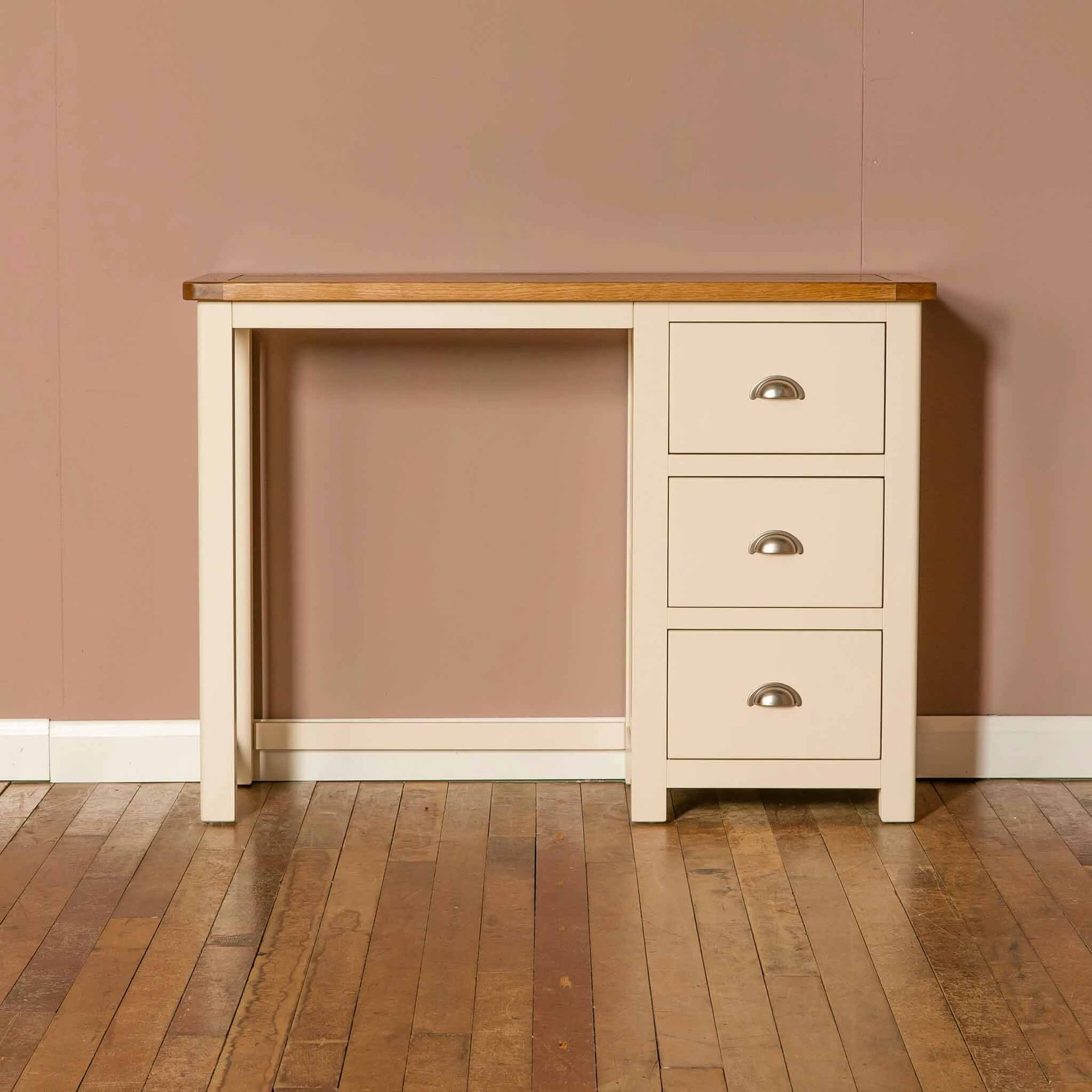 The Padstow Cream Small Wooden Dressing Table with 3 Drawers from Roseland Furniture