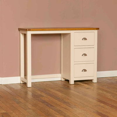 The Padstow Cream Small Kids Dressing Table with Oak Top from Roseland Furniture