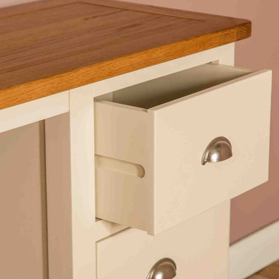 Close up of drawer joint on The Padstow Cream Small Wooden Dressing Table