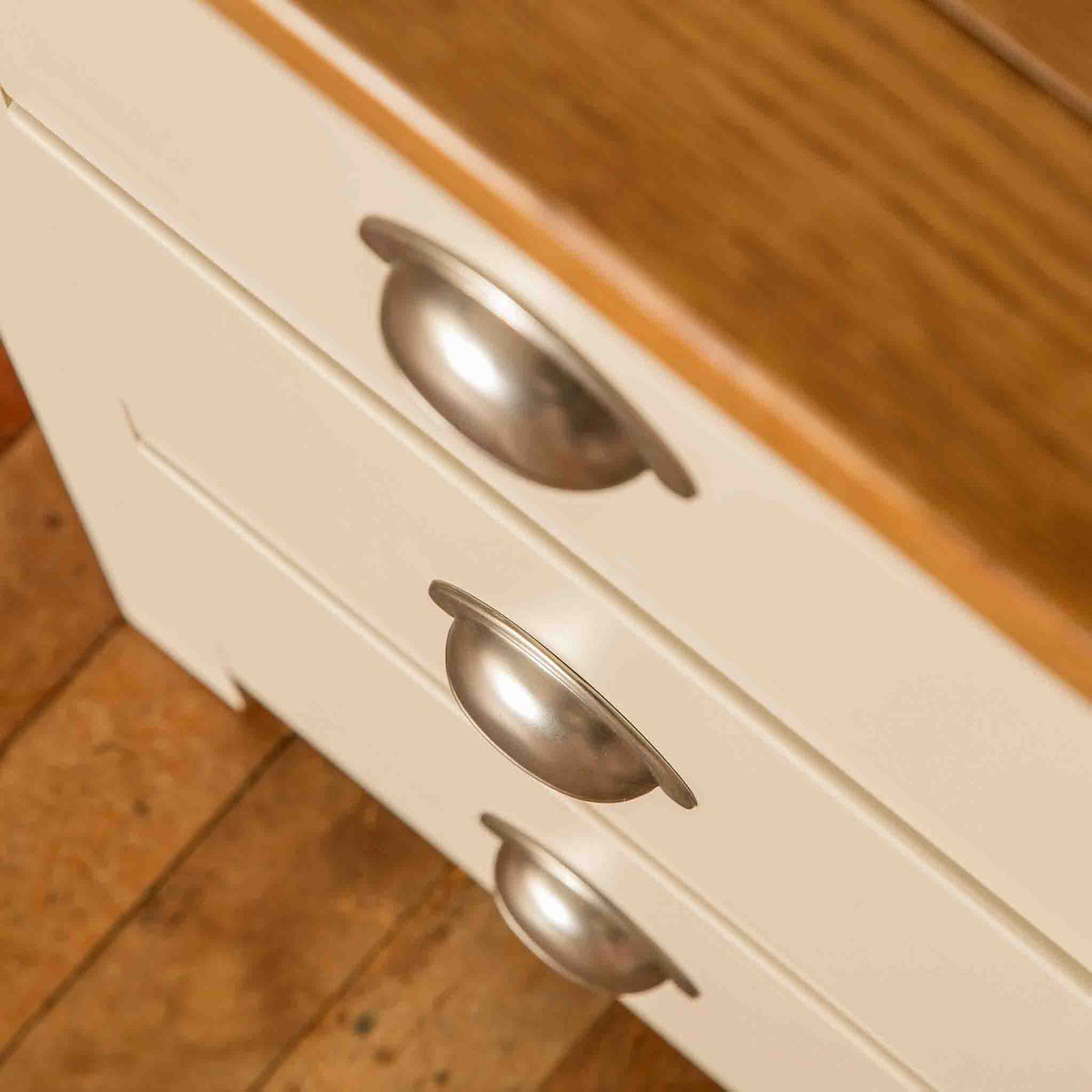 Close up of drawers on The Padstow Cream Small Wooden Dressing Table