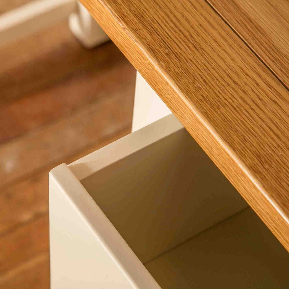 Open drawer view on The Padstow Cream Small Wooden Dressing Table