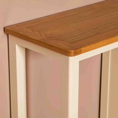 Close up of oak table top on The Padstow Cream Small Wooden Dressing Table