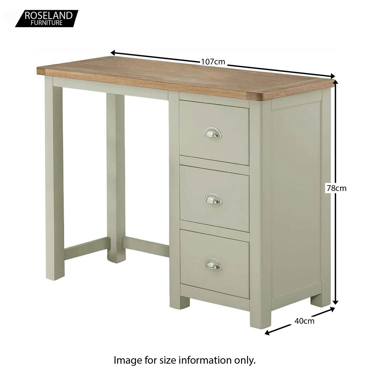 Padstow Grey Dressing Table with Drawers - Size Guide for Overall Unit
