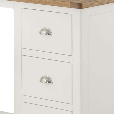 The Padstow White Small Wooden Dressing Table - Close Up of Drawer Fronts
