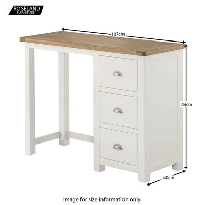 Padstow White Wooden Dressing Table - Size Guide for Overall Size