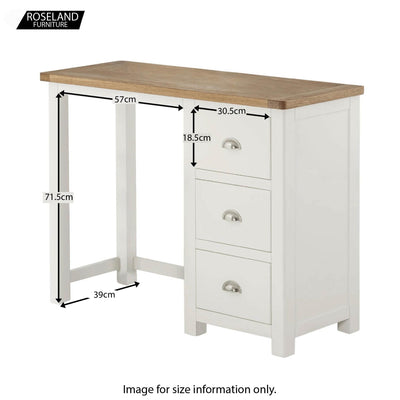 Padstow White Wooden Dressing Table - Additional Sizes