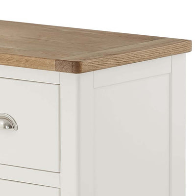 The Padstow White Small Wooden Dressing Table - Close Up of Oak Top