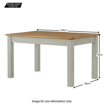 Padstow Grey 120cm Dining Table - Size Guide