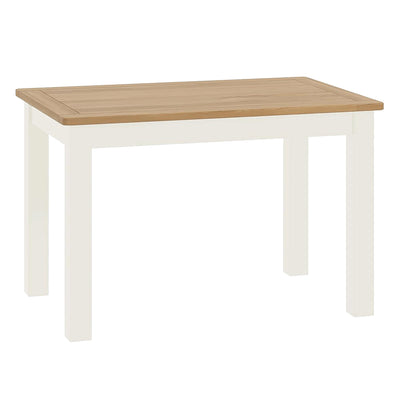 The Padstow White Wooden Dining Table with Oak Top from Roseland Furniture
