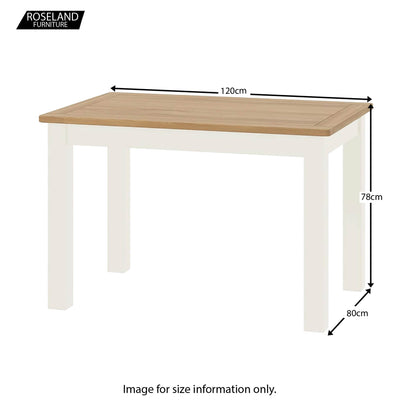 Padstow White Dining Table - Size Guide
