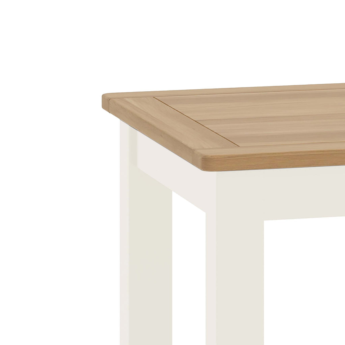 The Padstow White Wooden Dining Table - Close Up of Oak Table Top
