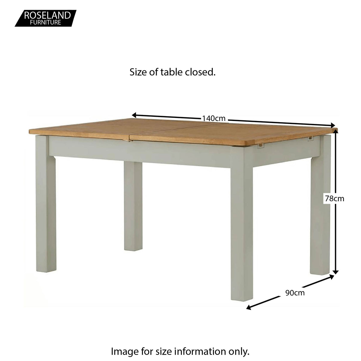 Padstow Grey Extending 140-180cm Dining Table - Size Guide of Table Closed