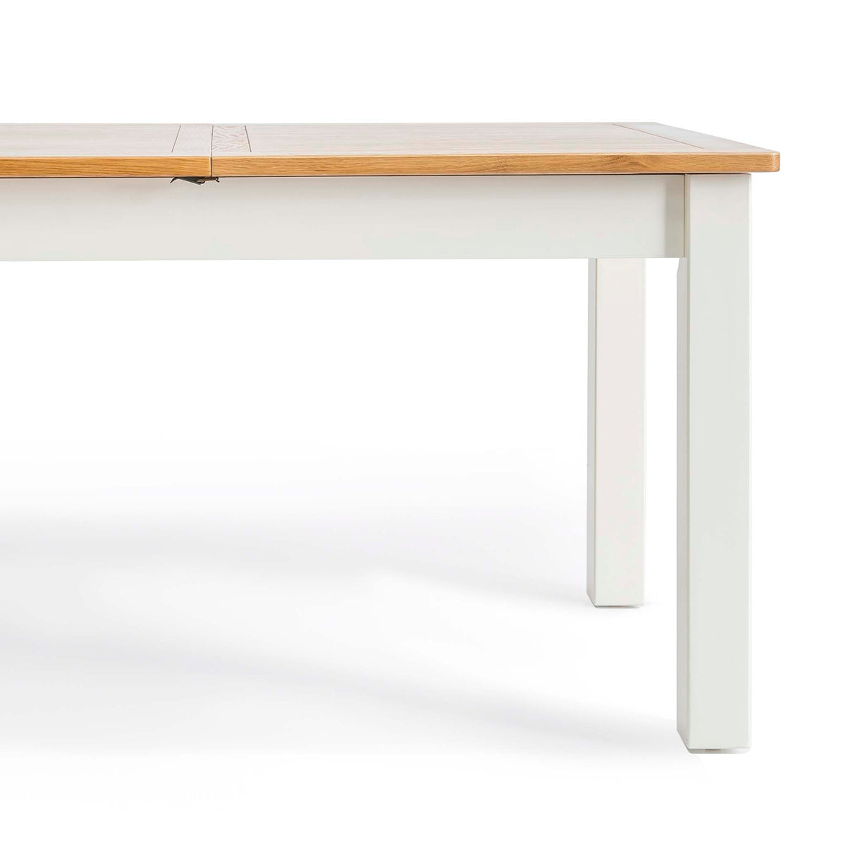 Padstow White Wooden Extending Dining Table -  Close up of legs of table