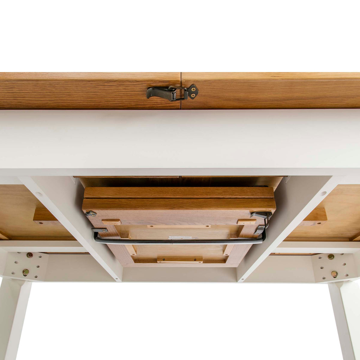 Padstow White Wooden Extending Dining Table - Close up of underside of table when closed