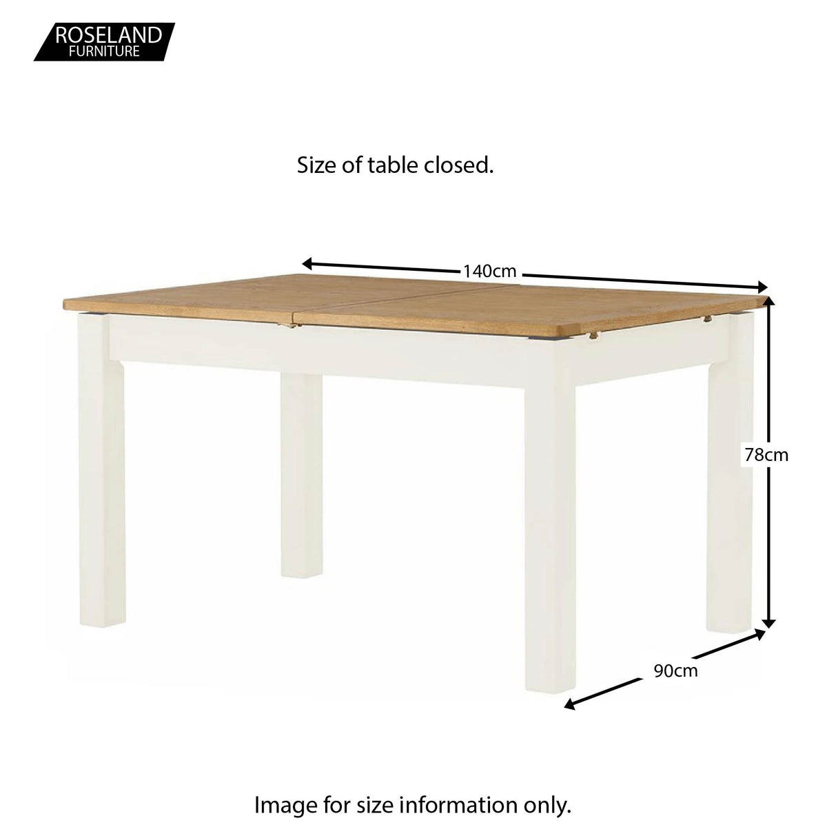 Padstow White Extending Dining Table - Size Guide of Table Closed