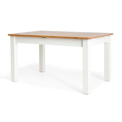 Padstow White Wooden Extending Dining Table - Side view of table closed