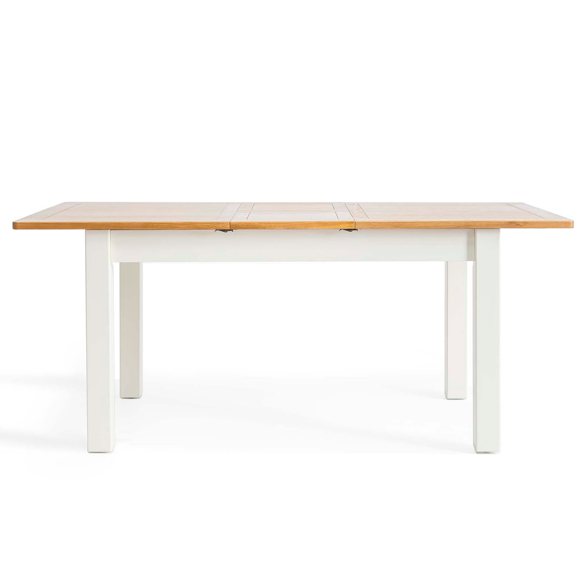 Padstow White Wooden Extending Dining Table - Table fully extended