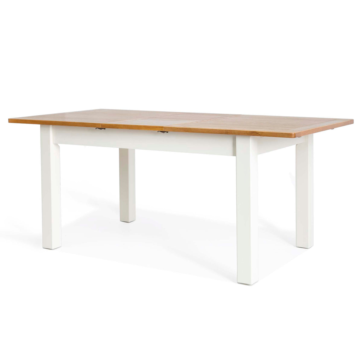 Padstow White Wooden Extending Dining Table - Side view of table fully extended
