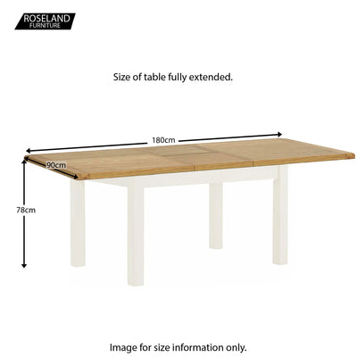 The Padstow White Wooden Extending Dining Table - Size Guide of Fully Extended Table