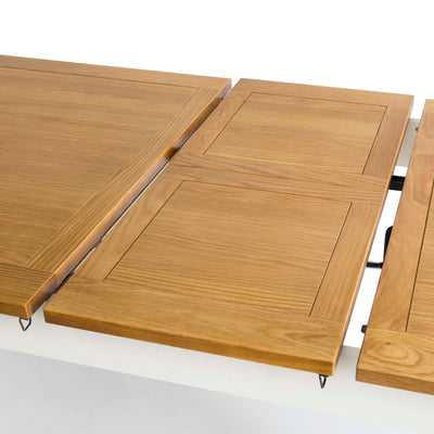 Padstow White Wooden Extending Dining Table - Opening Mechanism