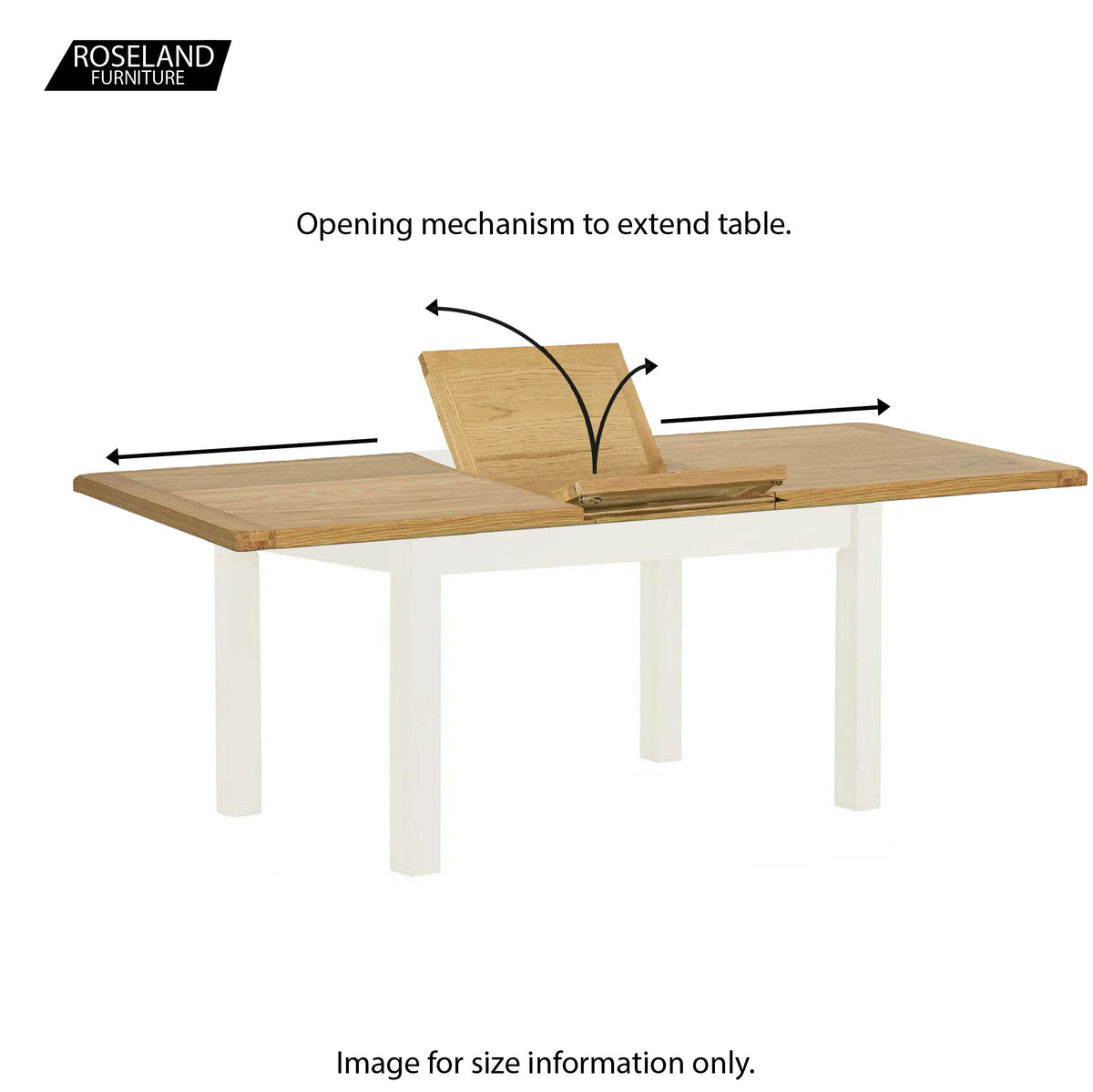 The Padstow White Wooden Extending Dining Table - Opening Mechanism for table