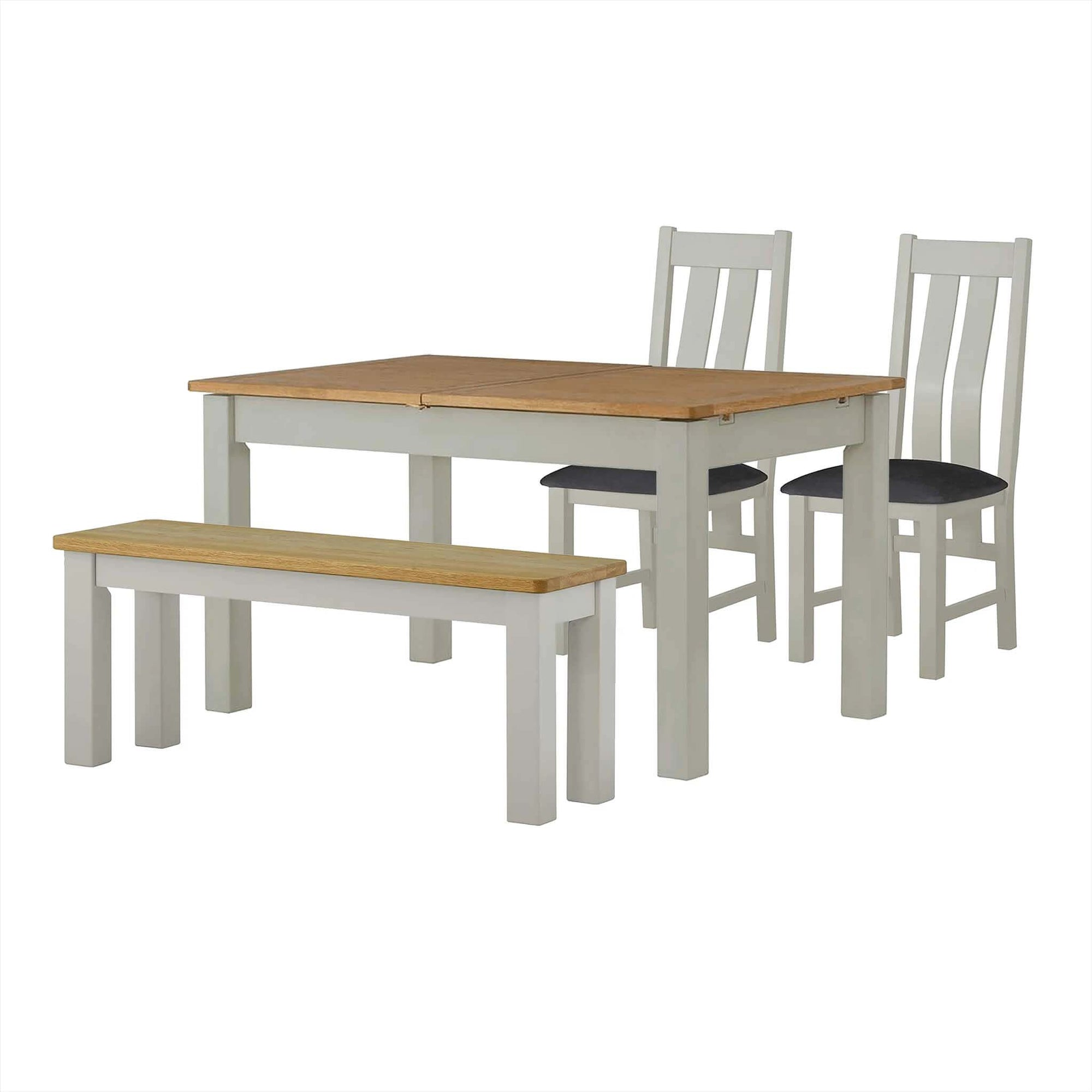 The Padstow Grey Wooden Extending Dining Table with Bench and Dining Chairs from Roseland Furniture