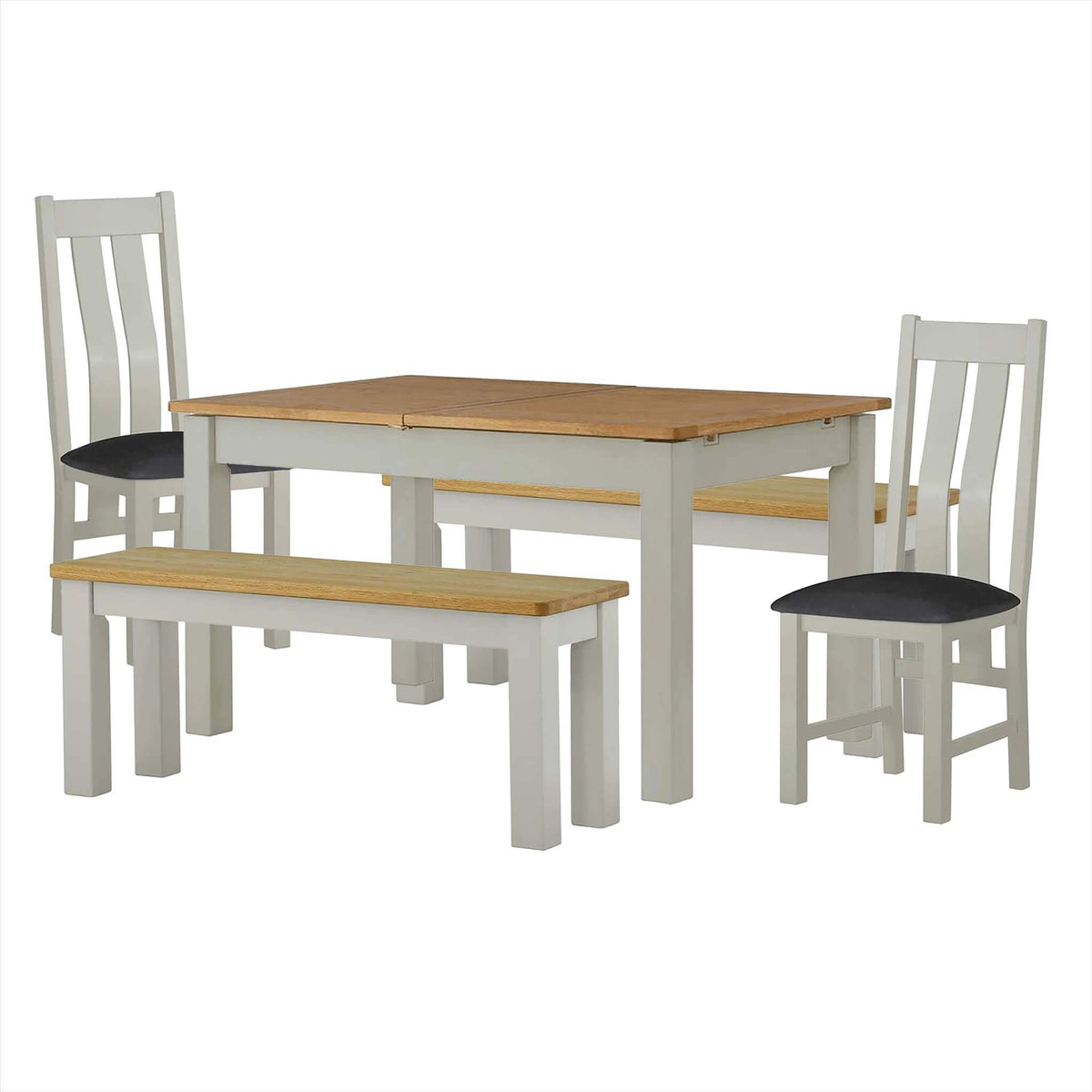 The Padstow Grey Wooden Extending Dining Table Set with 2 Benches and 2 Dining Chairs from Roseland Furniture