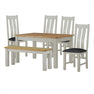The Padstow Grey Wooden Extending Dining Table Set with Bench and 4 Dining Chairs from Roseland Furniture
