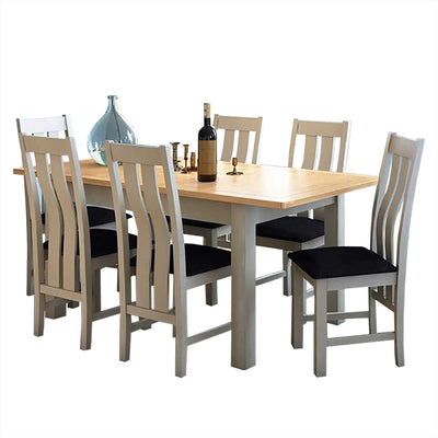The Padstow Grey Large Extending Wooden Dining Table Set with 6 Dining Chairs