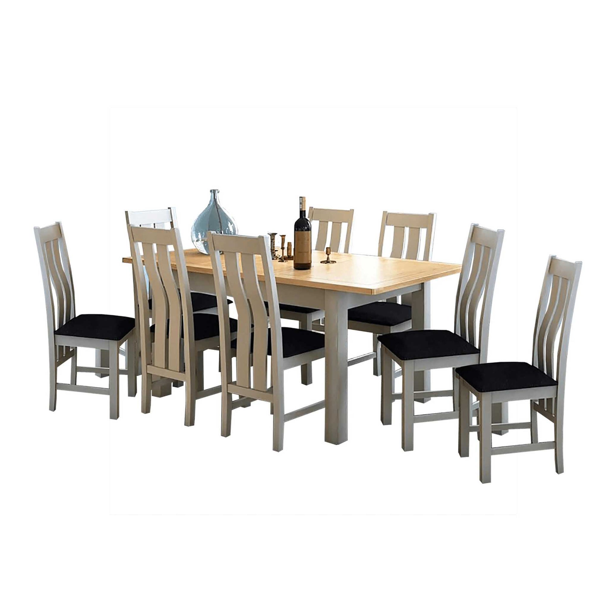 The Padstow Grey Wooden Extending Dining Table Set with 8 Dining Chairs from Roseland Furniture