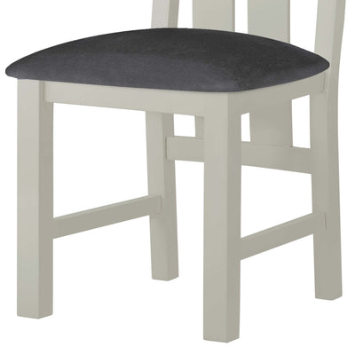 The Padstow Grey Wooden Dining Chair - Part of Dining Set - Close Up of Padded Seat of Chair