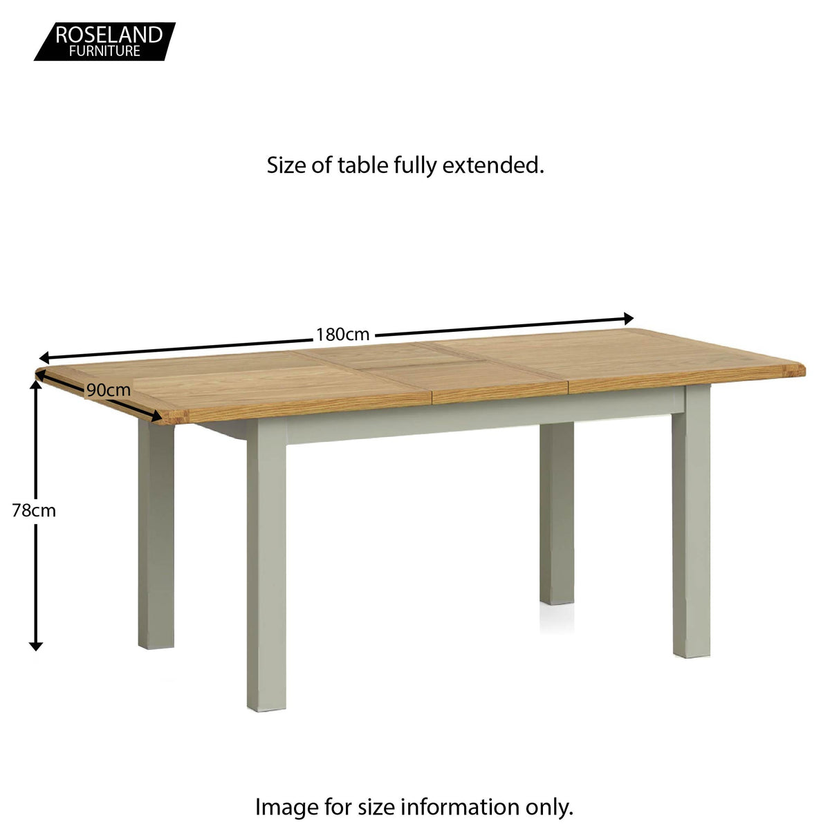 Padstow Grey 140 - 180cm Extending Dining Table - Size Guide of Table Fully Extended