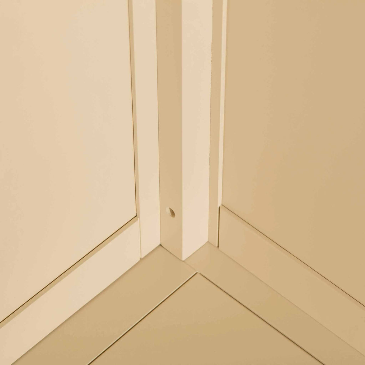 Internal corner view of the Padstow Cream Wooden 2 Double Wardrobe