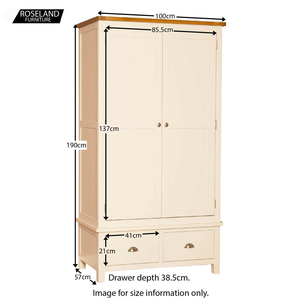 Padstow Cream Double Wardrobe - Size Guide