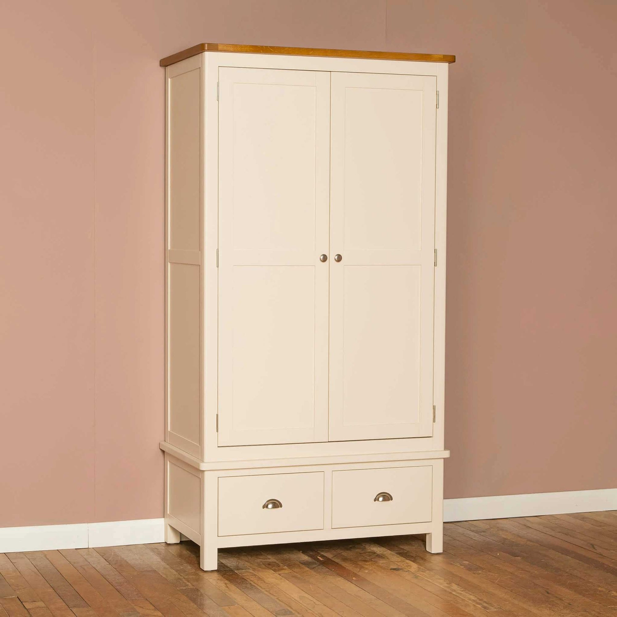The Padstow Cream Wooden Double Wardrobe with Oak Top From Roseland Furniture