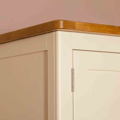 Close up of oak top edging on the Padstow Cream Wooden 2 Double Wardrobe