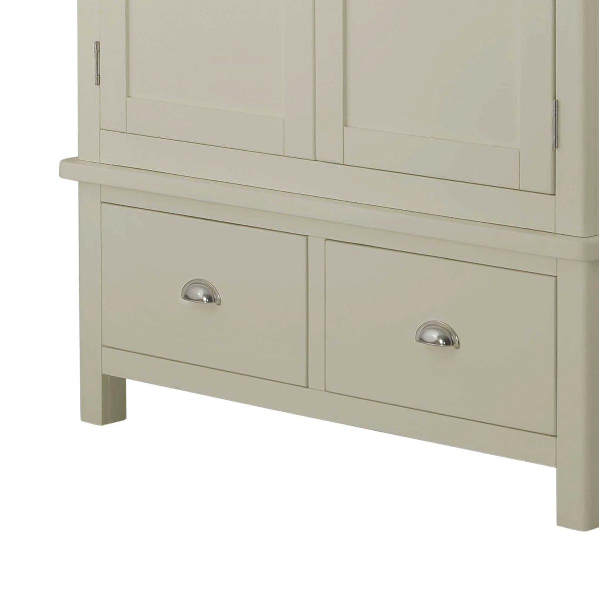 The Padstow Grey Double Wardrobe with 2 Drawers - Close Up of  Drawers
