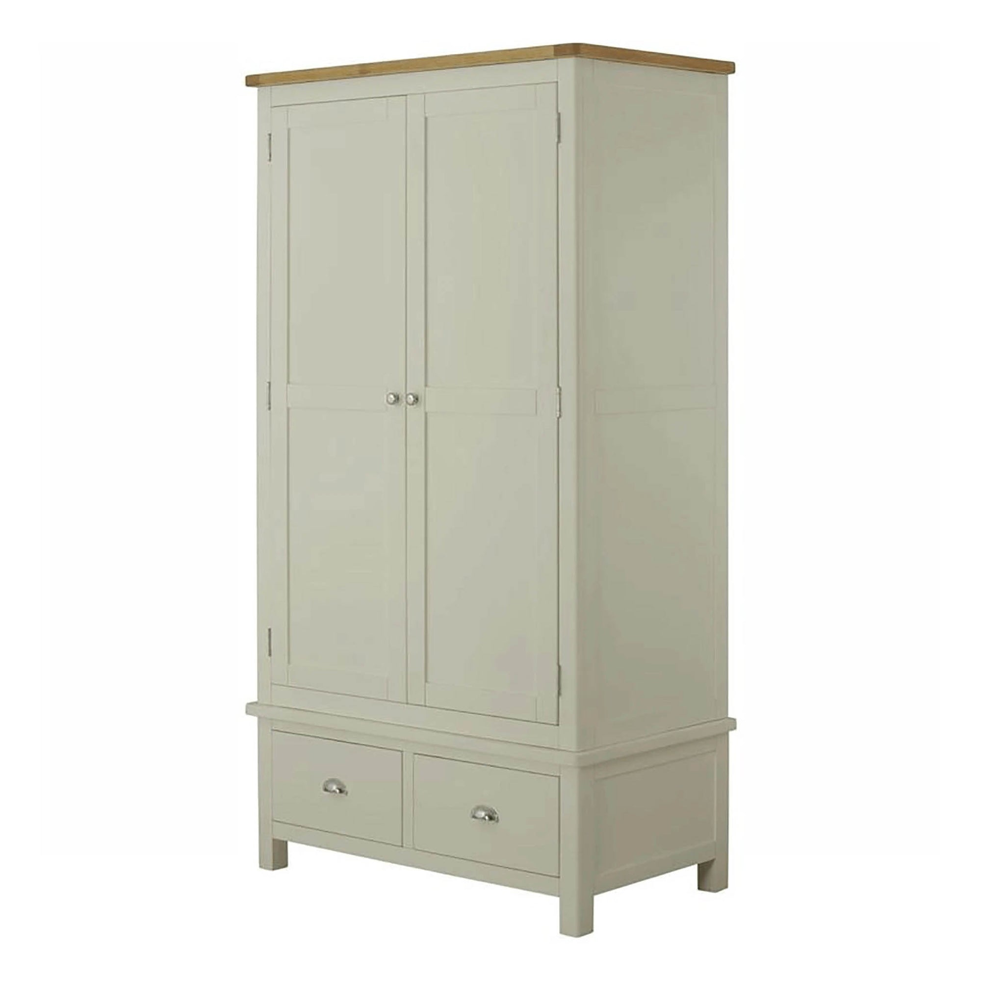 The Padstow Grey Wooden 2 Door Wardrobe with 2 Drawers from Roseland Furniture