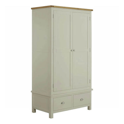 The Padstow Grey Solid Wood Double Wardrobe with Oak Top from Roseland Furniture