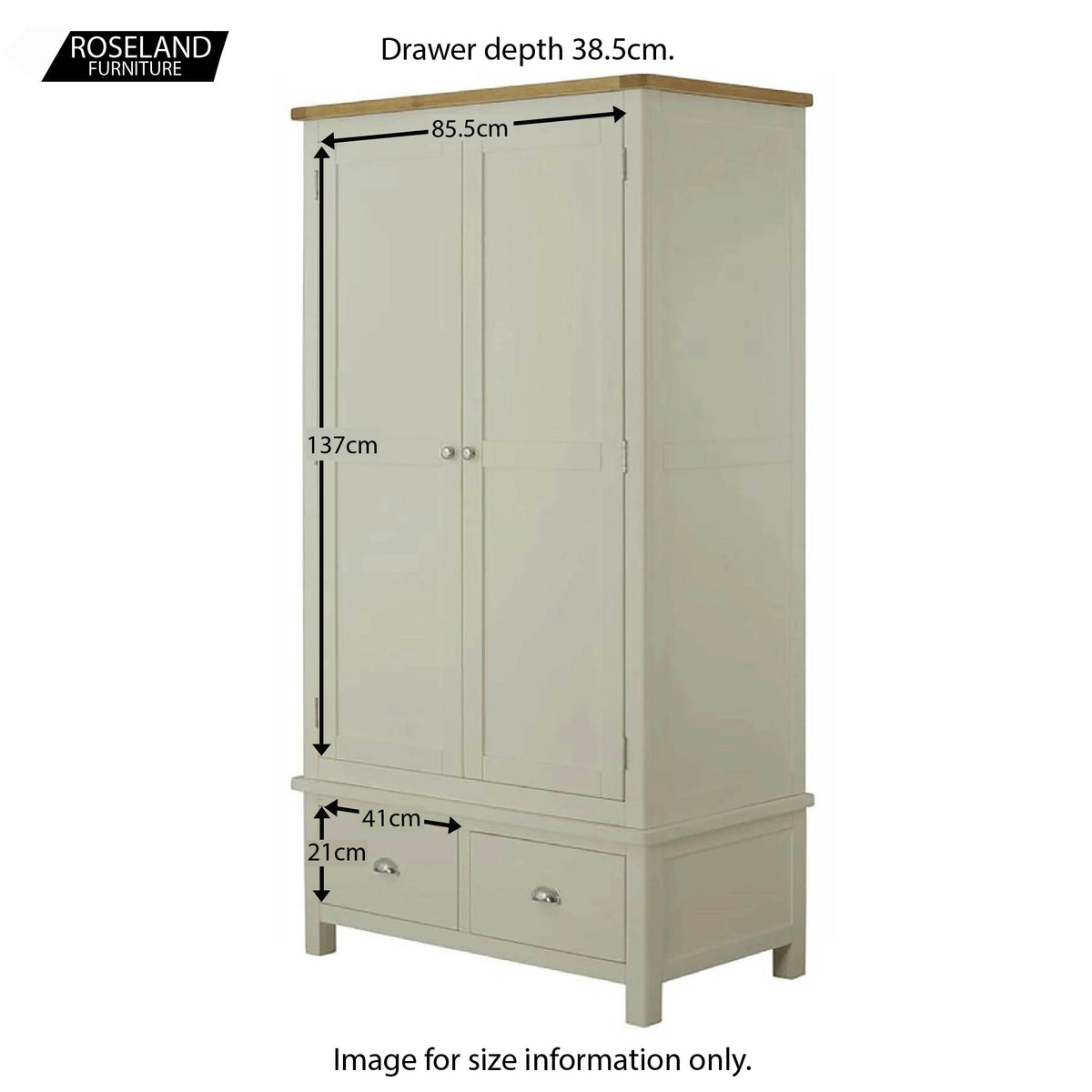 Padstow Grey Double Wardrobe with Drawers - Size Guide of Cupboard and Drawers