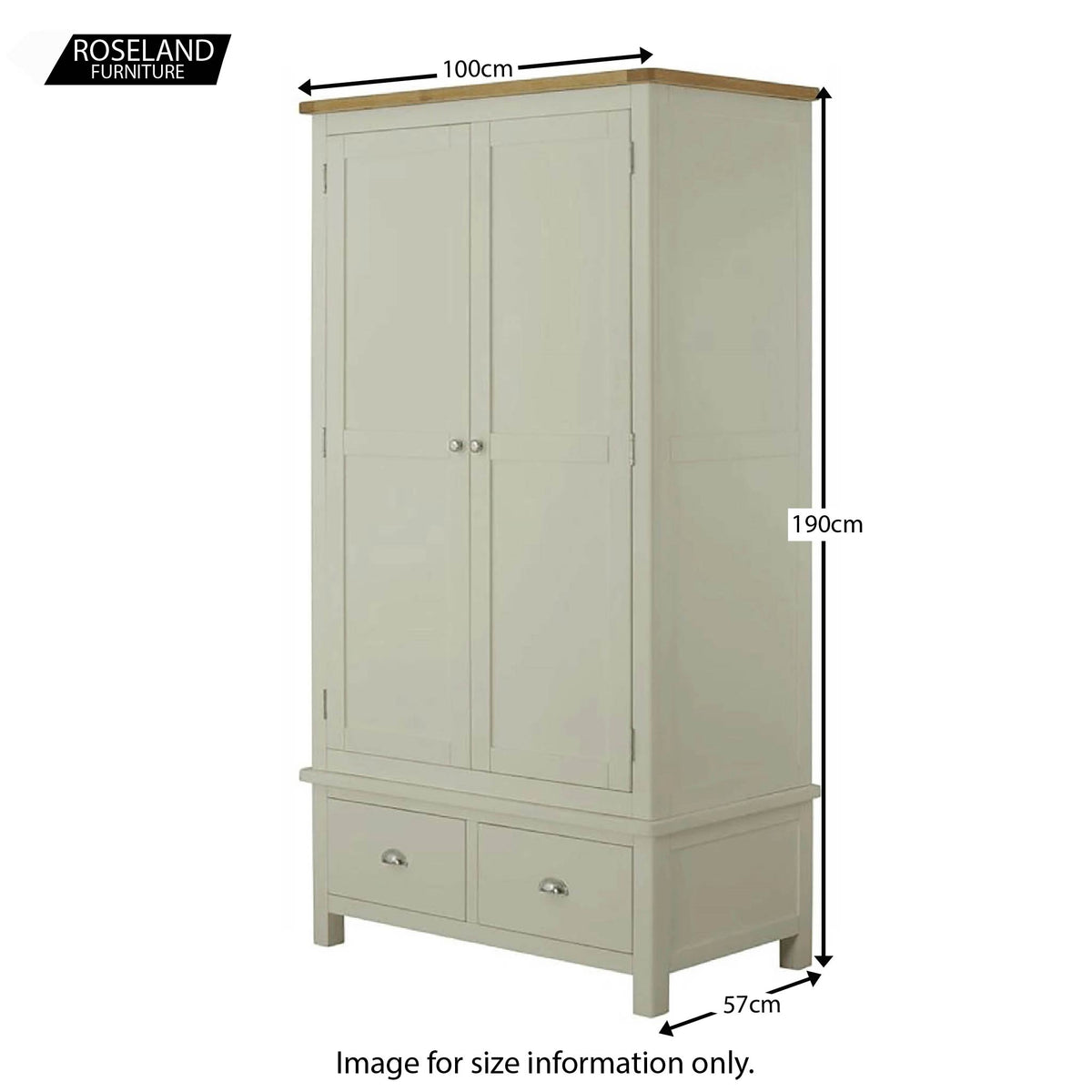 Padstow Grey Double Wardrobe with Drawers - Size Guide