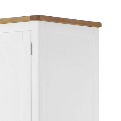 The Padstow White Wooden Double Wardrobe with Drawers - Close Up of Oak Top