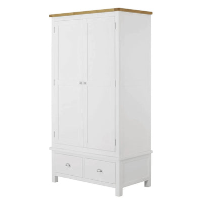 The Padstow White Wooden Double Wardrobe with Drawers from Roseland Furniture