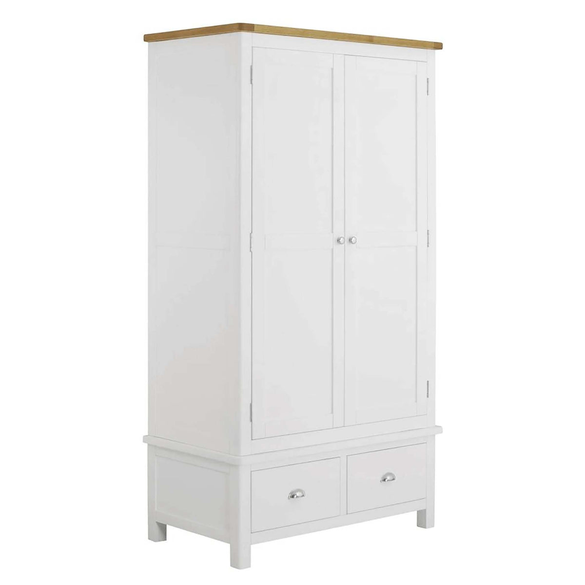 The Padstow White Large 2 Door Wardrobe with Oak Top from Roseland Furniture