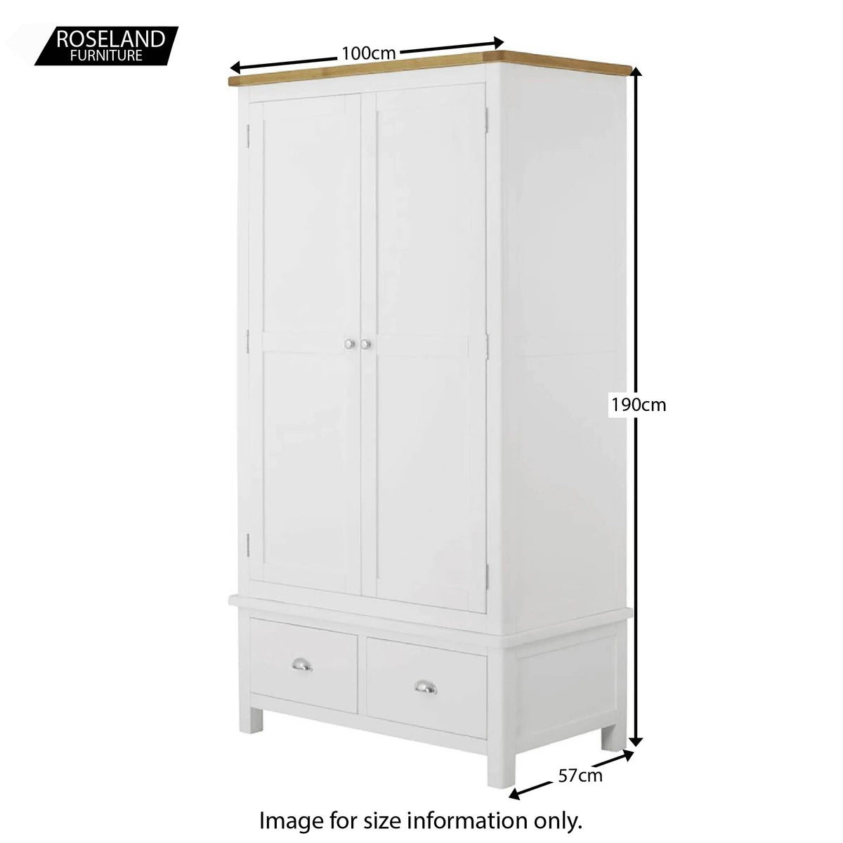 Padstow White Double Wardrobe with Drawers - Size Guide of overall piece