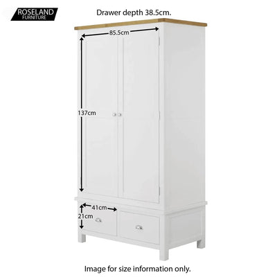 Padstow White Double Wardrobe with Drawers - Size Guide of Cupboards and Drawers