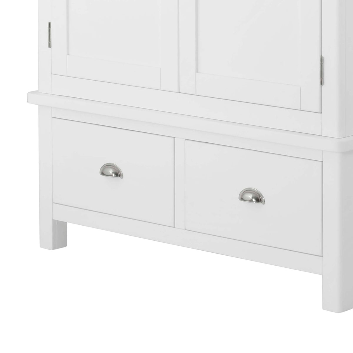 The Padstow White Wooden Double Wardrobe with Drawers - Close Up of Lower Drawers