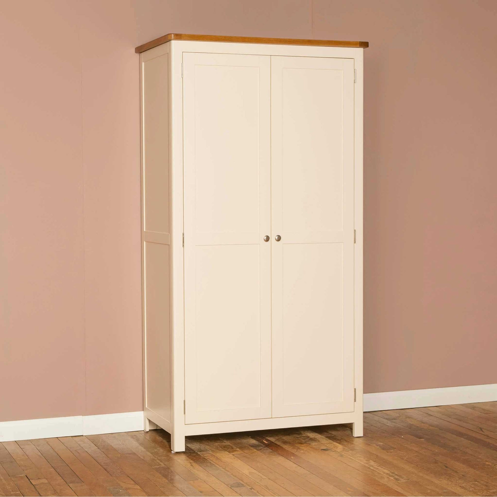 The Padstow Cream Wooden All Hanging Ladies Wardrobe with Oak Top from Roseland Furniture