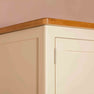 Close up of oak top edging on The Padstow Cream Wooden All Hanging Ladies Wardrobe