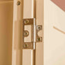 Close up of door hinge on The Padstow Cream Wooden All Hanging Ladies Wardrobe